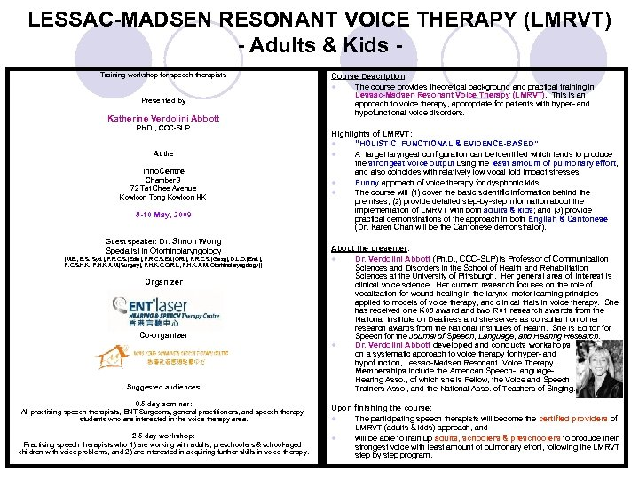 LESSAC-MADSEN RESONANT VOICE THERAPY (LMRVT) - Adults & Kids Training workshop for speech therapists