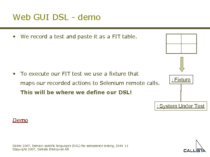 Web GUI DSL - demo • We record a test and paste it as