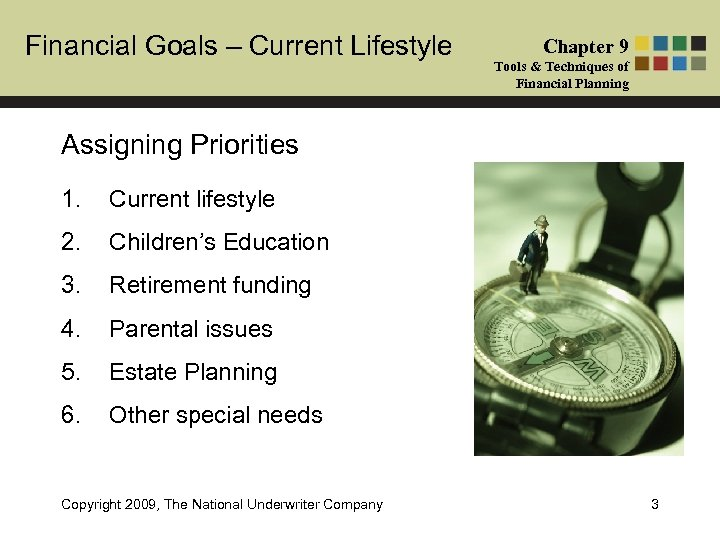 Financial Goals – Current Lifestyle Chapter 9 Tools & Techniques of Financial Planning Assigning