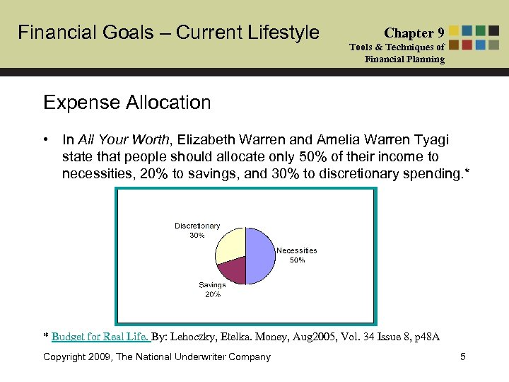 Financial Goals – Current Lifestyle Chapter 9 Tools & Techniques of Financial Planning Expense