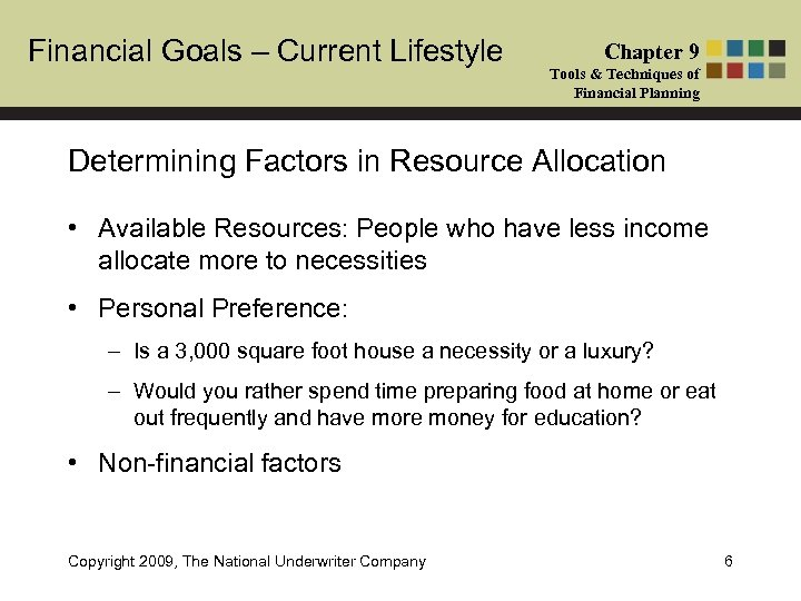 Financial Goals – Current Lifestyle Chapter 9 Tools & Techniques of Financial Planning Determining