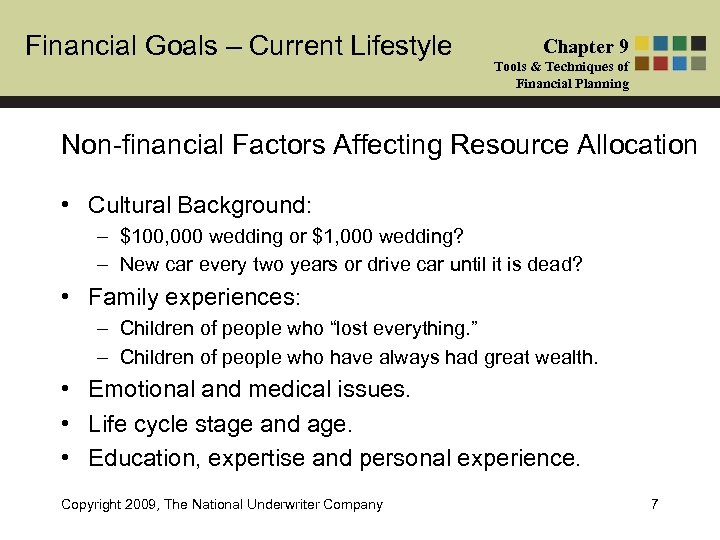 Financial Goals – Current Lifestyle Chapter 9 Tools & Techniques of Financial Planning Non-financial
