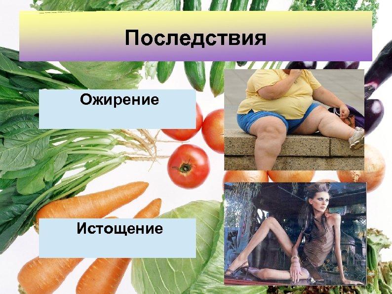 Последствия Ожирение Истощение