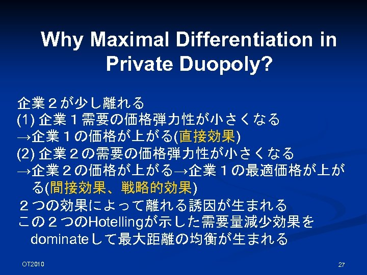 Why Maximal Differentiation in Private Duopoly? 企業2が少し離れる (1) 企業1需要の価格弾力性が小さくなる →企業1の価格が上がる(直接効果) (2) 企業2の需要の価格弾力性が小さくなる →企業2の価格が上がる→企業1の最適価格が上が る(間接効果、戦略的効果)