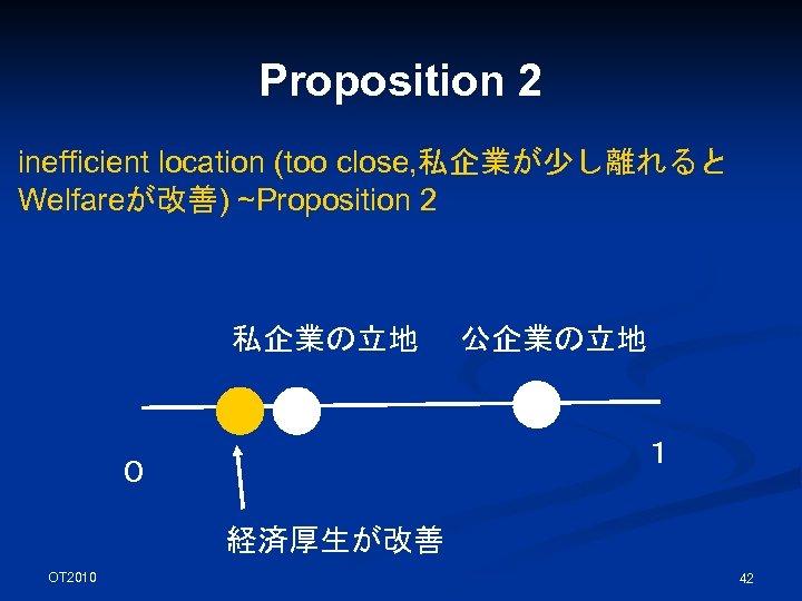 Proposition 2 inefficient location (too close, 私企業が少し離れると Welfareが改善) ~Proposition 2 私企業の立地 公企業の立地 1 0