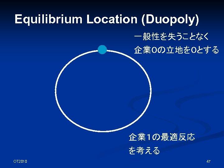 Equilibrium Location (Duopoly) 一般性を失うことなく 企業0の立地を0とする 企業1の最適反応 を考える OT 2010 47