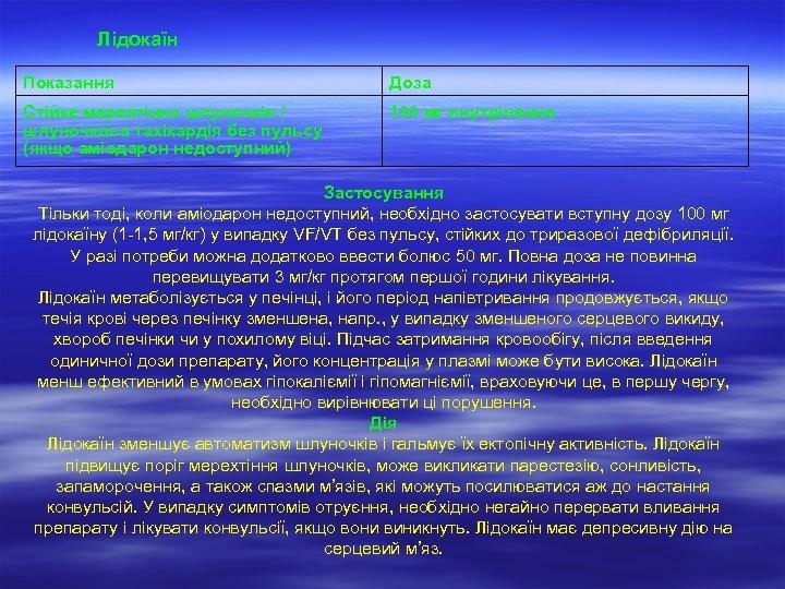 Лідокаїн Показання Доза Стійке мерехтіння шлуночків / шлуночкова тахікардія без пульсу (якщо аміодарон недоступний)