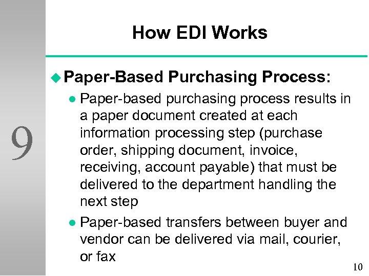 How EDI Works u Paper-Based Purchasing Process: Paper-based purchasing process results in a paper