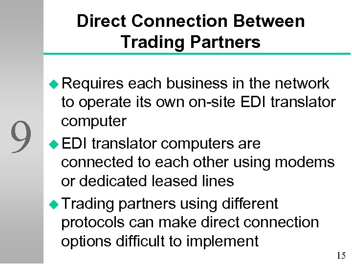 Direct Connection Between Trading Partners u Requires 9 each business in the network to
