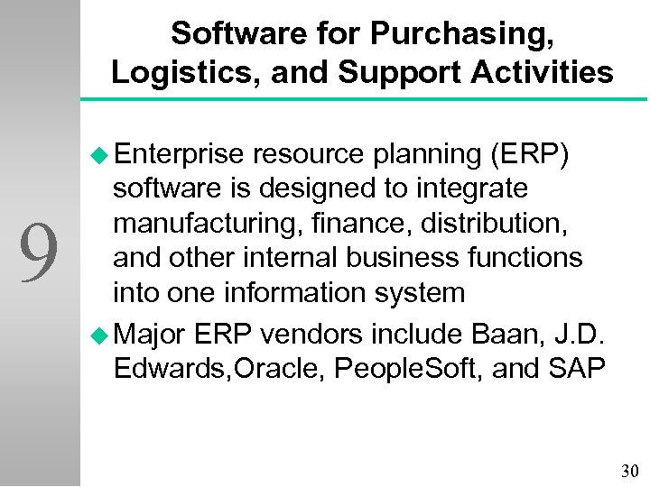 Software for Purchasing, Logistics, and Support Activities u Enterprise 9 resource planning (ERP) software