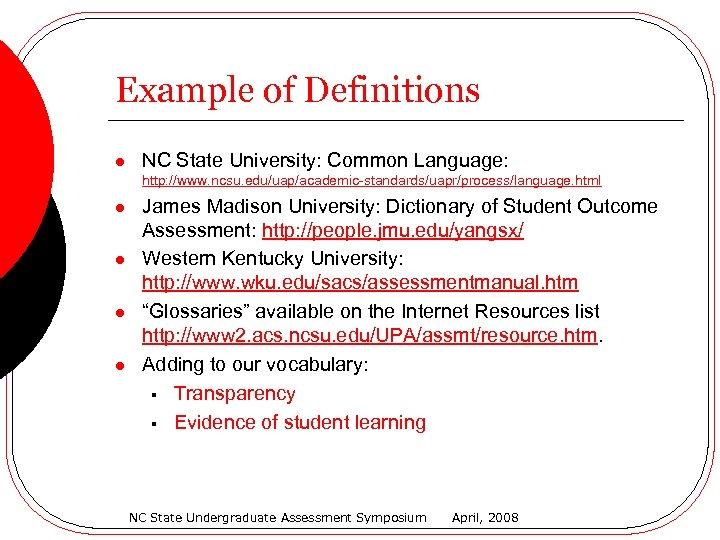 Example of Definitions l NC State University: Common Language: http: //www. ncsu. edu/uap/academic-standards/uapr/process/language. html