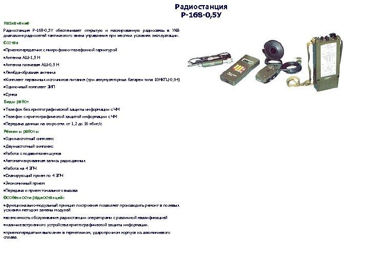 Радиостанция Р-168 -0, 5 У Назначение Радиостанция Р-168 -0, 5 У обеспечивает открытую и