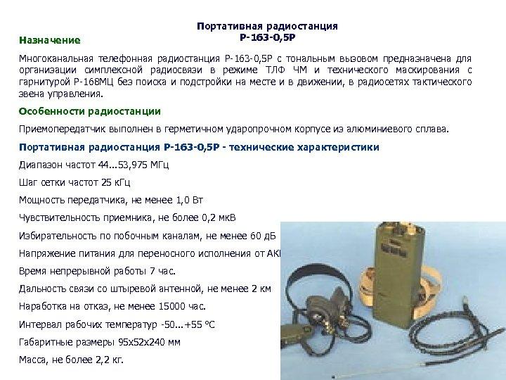 Назначение Портативная радиостанция Р-163 -0, 5 Р Многоканальная телефонная радиостанция Р-163 -0, 5 Р