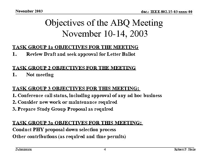 November 2003 doc. : IEEE 802. 15 -03 -xxxx-00 Objectives of the ABQ Meeting
