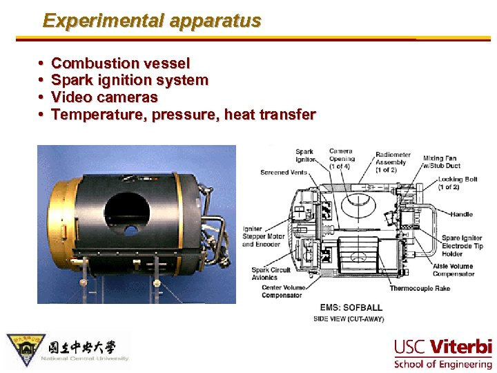Experimental apparatus • • Combustion vessel Spark ignition system Video cameras Temperature, pressure, heat