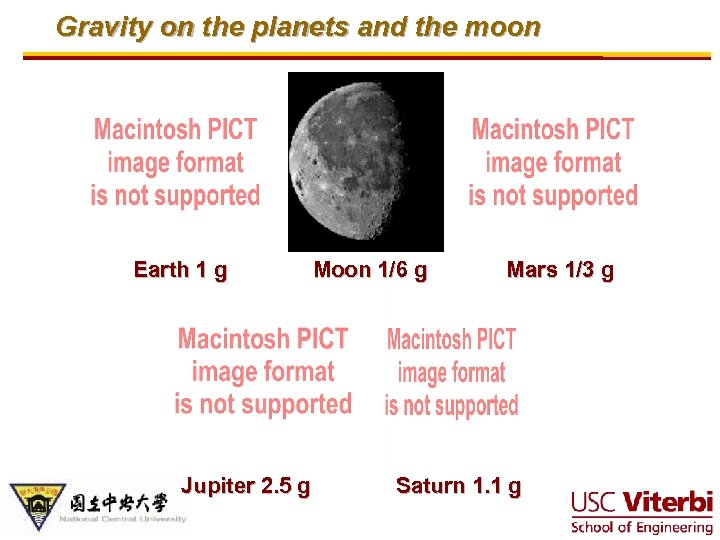 Gravity on the planets and the moon Earth 1 g Jupiter 2. 5 g