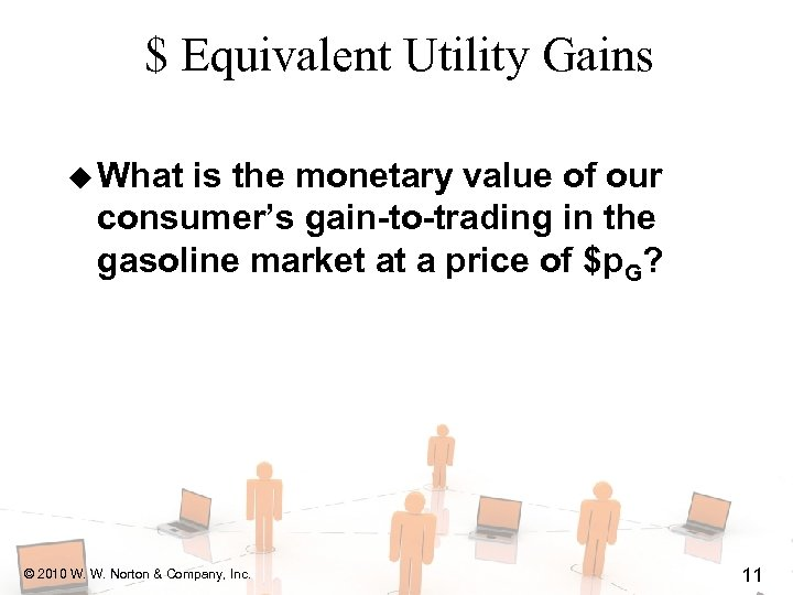 $ Equivalent Utility Gains u What is the monetary value of our consumer's gain-to-trading