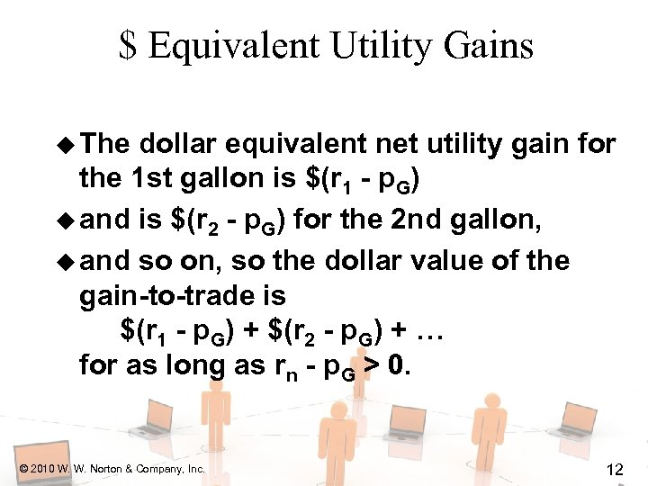 $ Equivalent Utility Gains u The dollar equivalent net utility gain for the 1
