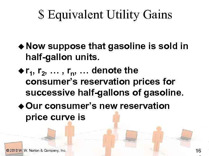 $ Equivalent Utility Gains u Now suppose that gasoline is sold in half-gallon units.