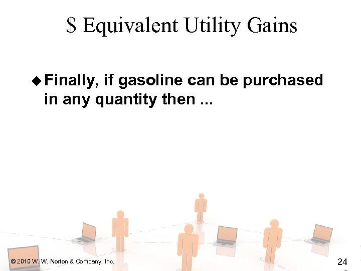 $ Equivalent Utility Gains u Finally, if gasoline can be purchased in any quantity