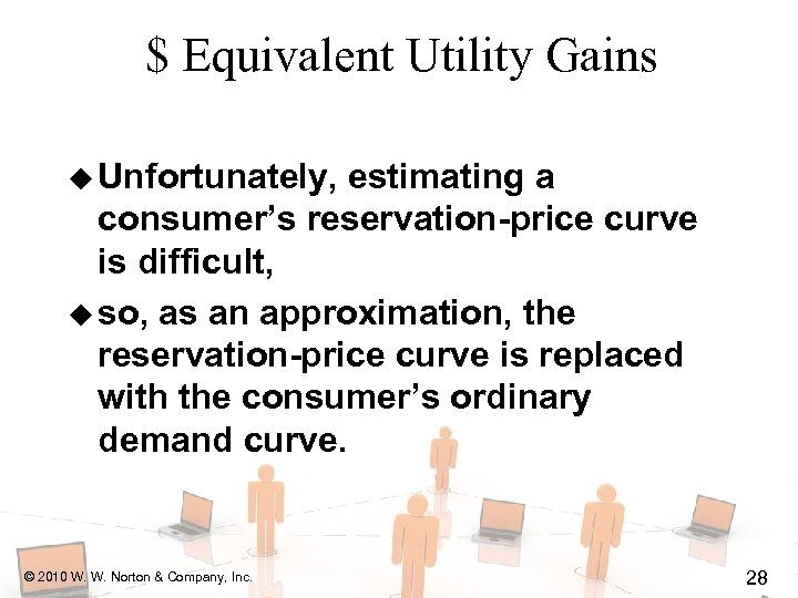 $ Equivalent Utility Gains u Unfortunately, estimating a consumer's reservation-price curve is difficult, u