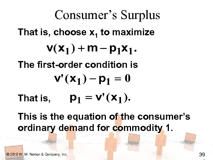 Consumer's Surplus That is, choose x 1 to maximize The first-order condition is That