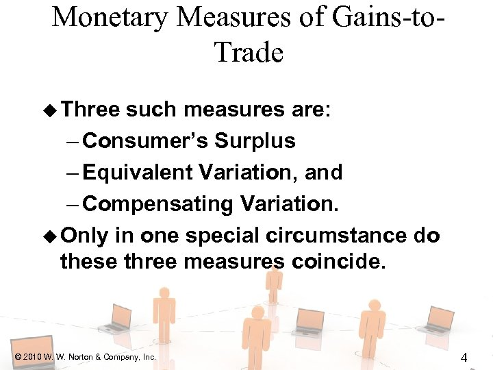 Monetary Measures of Gains-to. Trade u Three such measures are: – Consumer's Surplus –