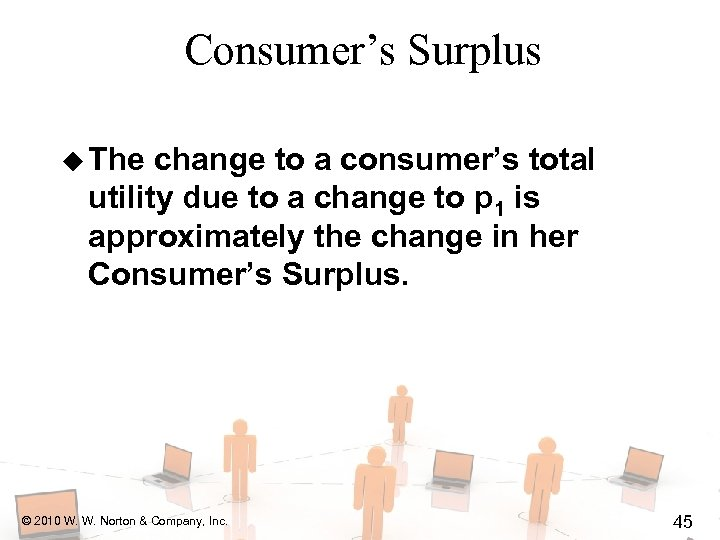 Consumer's Surplus u The change to a consumer's total utility due to a change