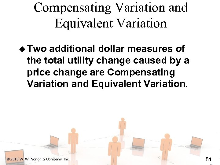 Compensating Variation and Equivalent Variation u Two additional dollar measures of the total utility
