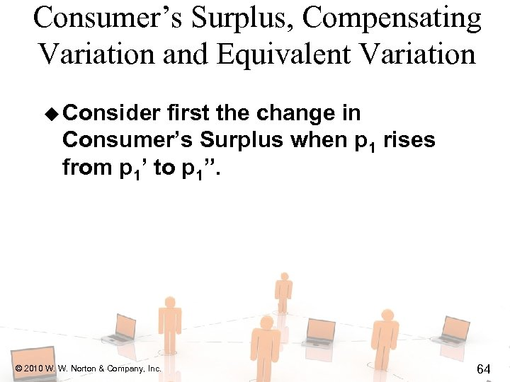Consumer's Surplus, Compensating Variation and Equivalent Variation u Consider first the change in Consumer's