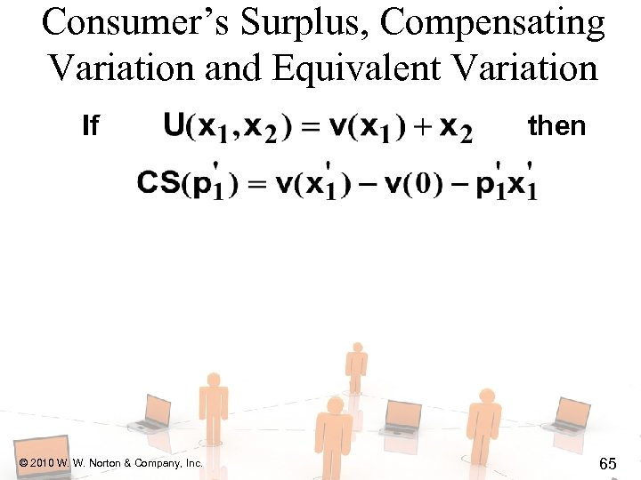 Consumer's Surplus, Compensating Variation and Equivalent Variation If © 2010 W. W. Norton &