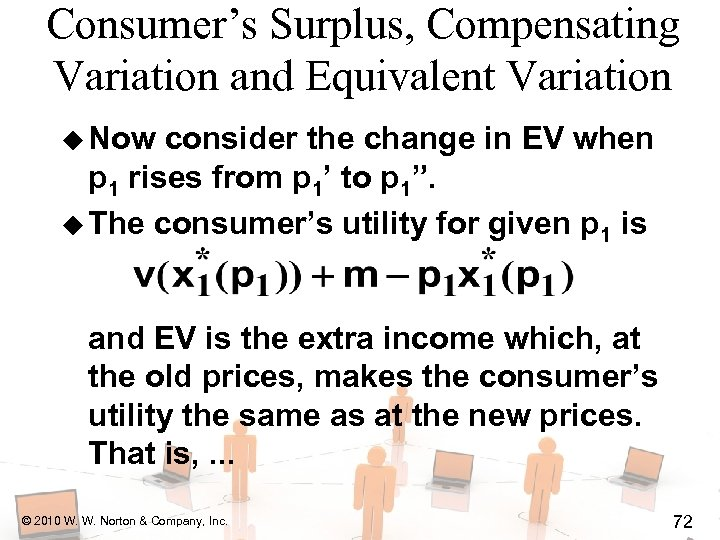 Consumer's Surplus, Compensating Variation and Equivalent Variation u Now consider the change in EV