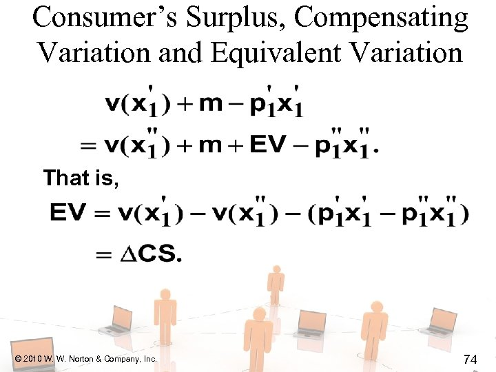 Consumer's Surplus, Compensating Variation and Equivalent Variation That is, © 2010 W. W. Norton