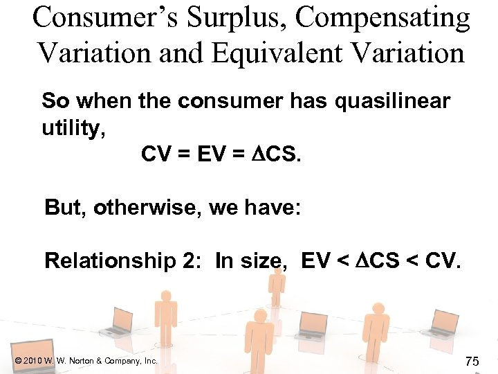 Consumer's Surplus, Compensating Variation and Equivalent Variation So when the consumer has quasilinear utility,