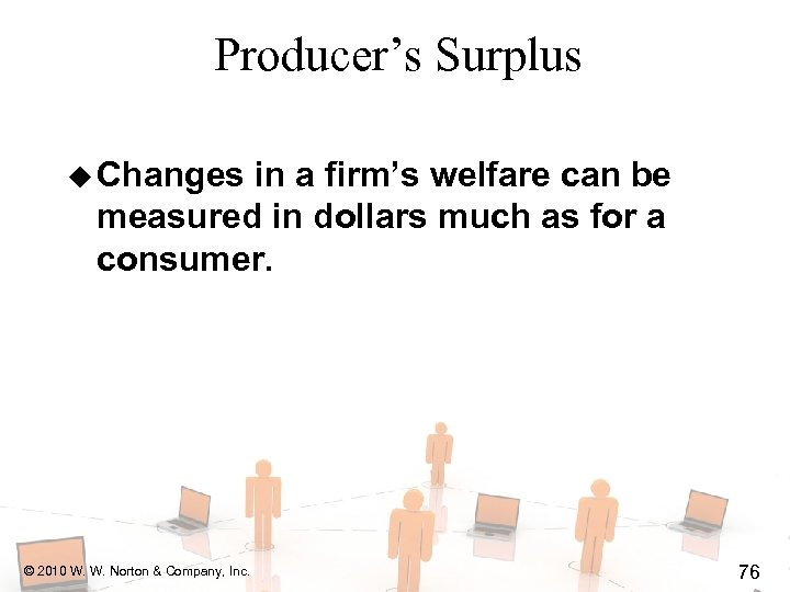 Producer's Surplus u Changes in a firm's welfare can be measured in dollars much