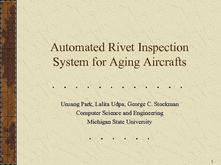 Automated Rivet Inspection System for Aging Aircrafts Unsang Park, Lalita Udpa, George C. Stockman