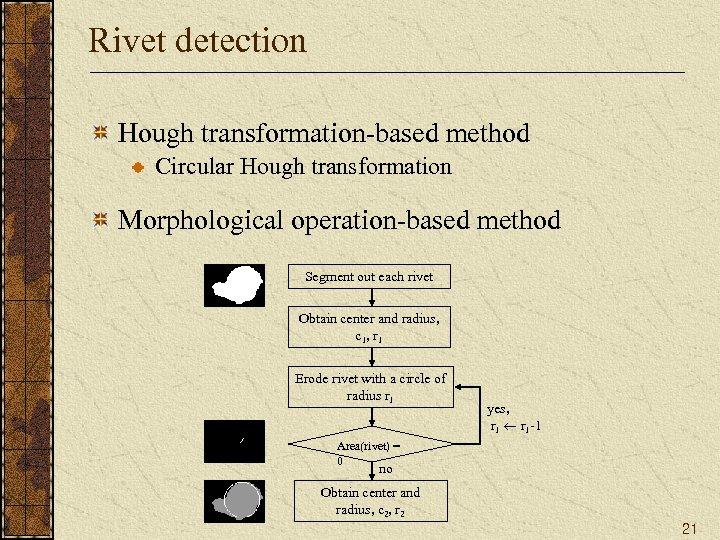 Rivet detection Hough transformation-based method Circular Hough transformation Morphological operation-based method Segment out each