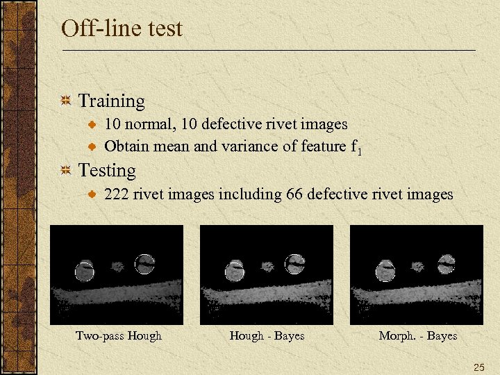 Off-line test Training 10 normal, 10 defective rivet images Obtain mean and variance of