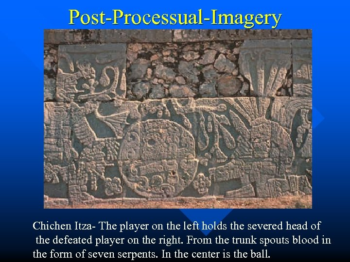 Post-Processual-Imagery Chichen Itza- The player on the left holds the severed head of the