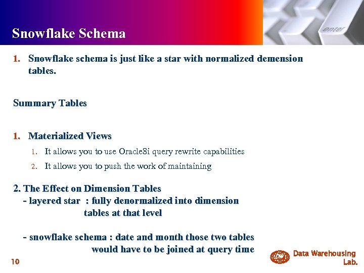 Snowflake Schema 1. Snowflake schema is just like a star with normalized demension tables.