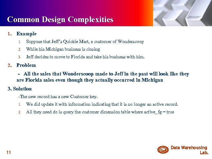 Common Design Complexities 1. Example 1. 2. While his Michigan business is closing 3.