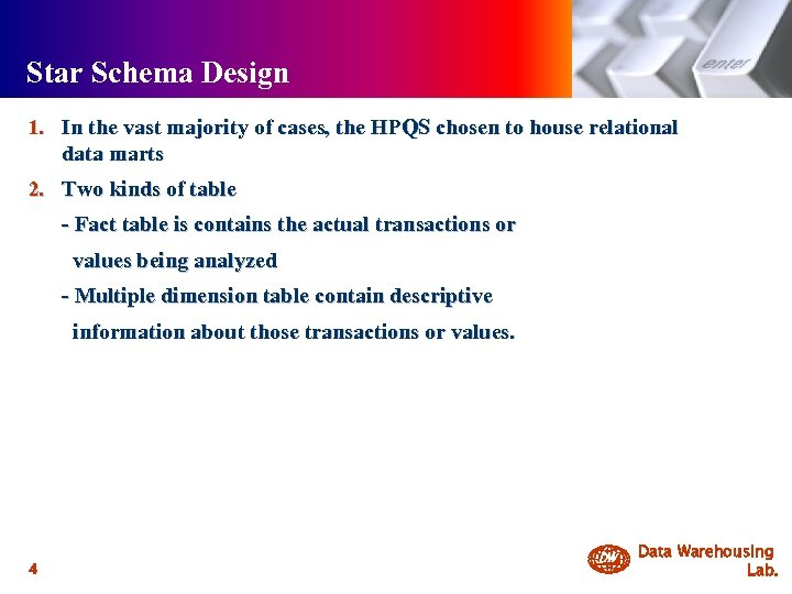 Star Schema Design 1. In the vast majority of cases, the HPQS chosen to