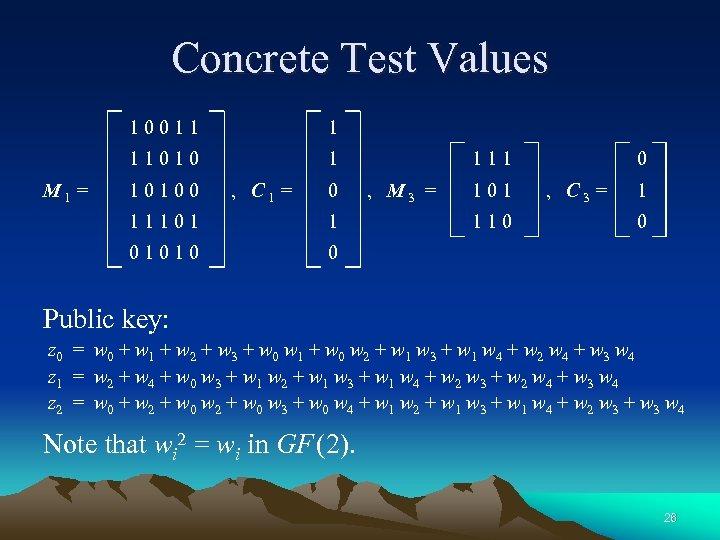Concrete Test Values 10011 11010 M 1 = 1 1 10100 , C 1