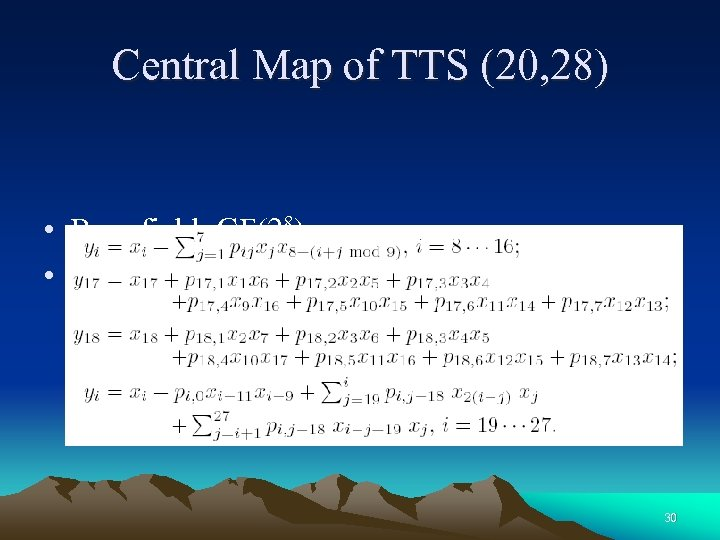Central Map of TTS (20, 28) • Base field: GF(28) • Central map: 30