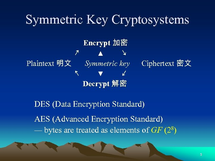 Symmetric Key Cryptosystems Encrypt 加密 ↗ ▲ ↘ Plaintext 明文 Symmetric key ↖ ▼