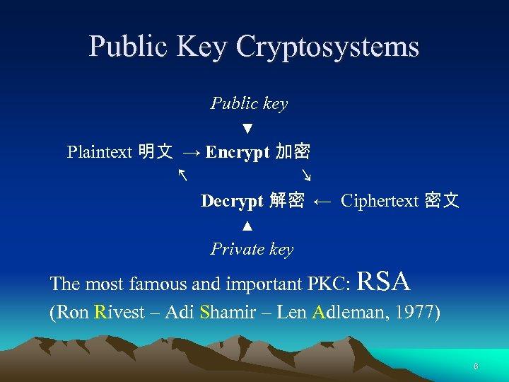 Public Key Cryptosystems Public key ▼ Plaintext 明文 → Encrypt 加密 ↖ ↘ Decrypt