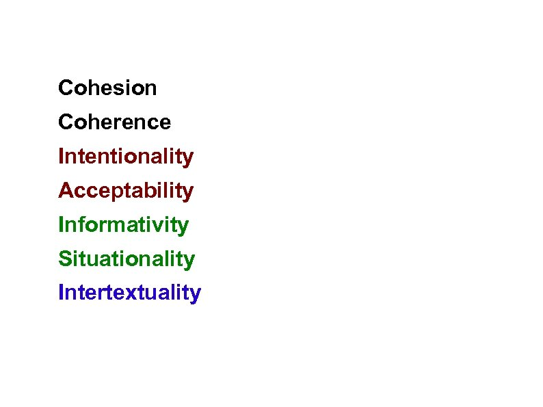 Cohesion Coherence Intentionality Acceptability Informativity Situationality Intertextuality