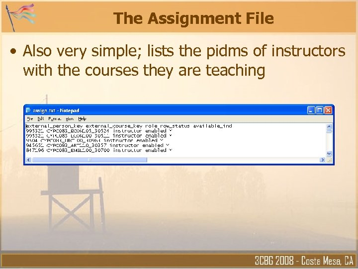 The Assignment File • Also very simple; lists the pidms of instructors with the