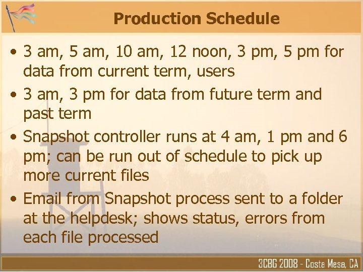 Production Schedule • 3 am, 5 am, 10 am, 12 noon, 3 pm, 5