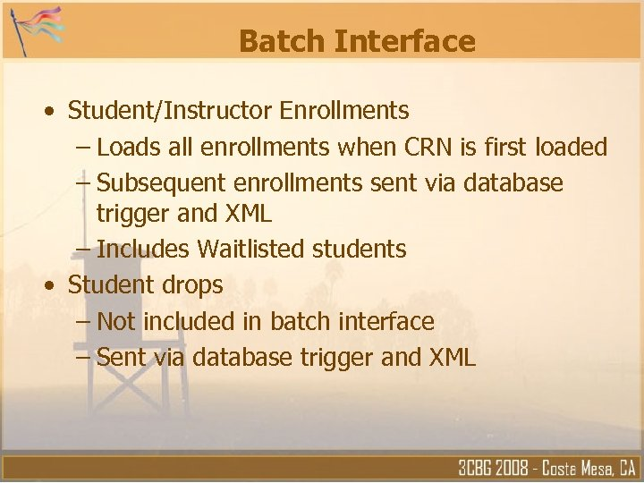 Batch Interface • Student/Instructor Enrollments – Loads all enrollments when CRN is first loaded